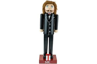 Clever Creations - Newlywed Groom Christmas Nutcracker - Traditional Wooden Decorative Figure in a Black Wedding Tuxedo with a Bowtie - 36cm