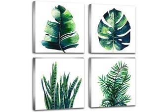 (Medium, Leaf Decor) - Botanical Leaf Wall Art Green Palm Leaves Bathroom Bedroom Home Decor Artwork Set of 4 Pcs 12 × 30cm Watercolour Painting Pictures Modern Framed Canvas Prints Boho Tropical Plant Kitchen Decoration