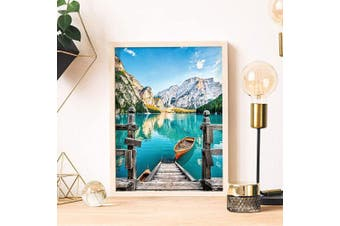 5D Diamond Painting Kit for Adults, Crystal Rhinestone Diamond Painting by Number Kit DIY 5D Round Full Drill Art Perfect for Relaxation and Home Wall Decor (Boat, 30cm x 40cm )