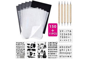 150 Sheets A4 Black Carbon Transfer Copy Paper Tracing Paper with 6 Number Alphabet Christmas Stencils and 5 Tracing Pen for Paper Glass transferring,Wood Burning Carving Embossing