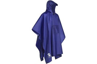 (Blue-2) - 3-in-1 Multi-Functional Waterproof Poncho Hooded Outdoor Adult - Waterproof Raincoat,Sunshade Tarp,Tent Ground Sheet Mat - 85.4 x 56.3 inches Polyester Fabric