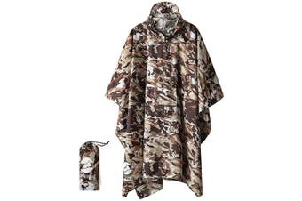 (Desert Camouflage) - 3-in-1 Multi-Functional Waterproof Poncho Hooded Outdoor Adult - Waterproof Raincoat,Sunshade Tarp,Tent Ground Sheet Mat - 85.4 x 56.3 inches Polyester Fabric
