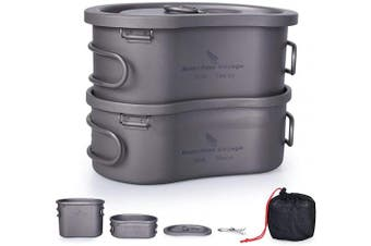 iBsingo Titanium Canteen Mess Kit Camping Pot Pan Set with Lid & Hanging Chain Ultralight Portable Bowl 1 People Picnic Cookware Cooking Kit for Outdoor Hiking Backpacking 300ml+600ml Ti15123I