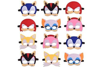 12 Masks For Sonic Party Favours Supplies for Boys and Girls Soft Felt 6 Different Types