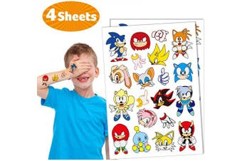 Temporary Tattoos for Sonic Party Supplies Kids 4 sheets Favours Birthday Decorations