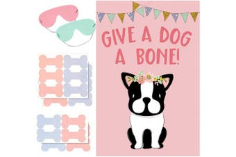 AIEX Dog Party Game Pin the Bone on Dog Party Favours Games for Kids Dog Theme Party Supplies Include Large Dog Theme Poster and 20 Pink Bone Stickers