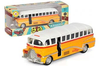 CORPER TOYS School Bus Pull Back Yellow Bus Die Cast Metal Play Vehicle with Lights and Sounds for Kids