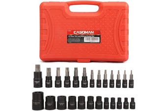CASOMAN 25 Piece Torx Bit Socket and Female External Socket Set, 13 Star Socket Bits (T8- T60) & 12 Female E-Torx Sockets (E4-E22)