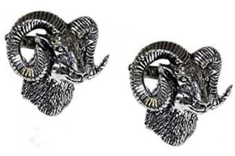 Ashton and Finch English Made Mouflon Rams Head Pewter Novelty Gift Cufflinks