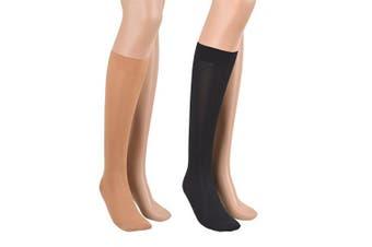 (170-182 cm / Medium, Black, Black) - 23-32 mmHg ASSISTICA® Medical Compression Socks, Class 2 Closed Toe Knee High Stockings (170-182 cm/Medium, Black)
