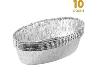 Plasticpro Disposable Oval Loaf pan 1.4kg Aluminium Takeout Tin Foil Baking Pans Bakeware - Cookware Perfect for Baking Cakes,Brownies,Bread, Meatloaf, Pack of 10