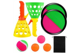 Aneco Toss and Catch Balls Game Set and Pop and Catch Launcher Basket with 3 Balls Indoors and Outdoors Toy with Storage Bag