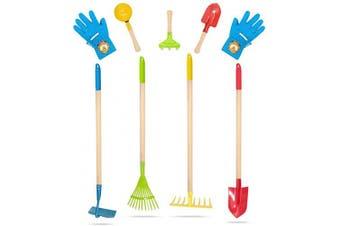 (8PCS Color) - Hortem 8PCS Kids Garden Tools Set Include 4PCS Long Rake, Shovel, Hoe, Leaf Rake with Metal Head and 3PCS Small Garden Hand Tools, Kids Garden Glove, Gardening Gifts for Children (Colour)