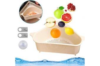 (Beige) - Bluelves Kitchen Sink Colander Strainer, Sink Basket Plastic Corner Sieves and Strainers Bowl, Triangle Storage Holder Multifunctional Drain Shelf Perfect for Draining Pasta, Vegetable,Fruits (Beige)