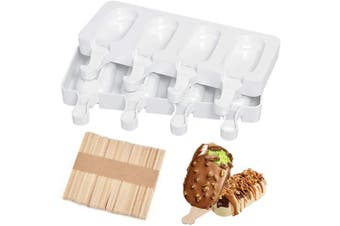 Ice Lolly Moulds, JUMKEET Silicone Ice Cream Lolly Mould of 2 Set, Ice Lolly Makers with 50 Sticks, Food Grade BPA Free Popsicle Moulds for Kids Adults Dessert Chocolate DIY