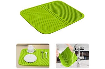 (Green) - AINIMI Silicone Drain Pad, Multi-Purpose Drying Mats, Counter top Mat, Dish Draining Mat, Non Slip Flexible Durable Heat Resistant Drain Mat (Set of 2),Large Silicone Trivet/Green-Two Pieces (Green)