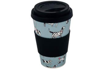 (Dogs) - Addis Reusable Bamboo Travel Coffee Hot Cup Mug with Soft Touch Drink Sleeve & Lid, 500ml 17.5 floz, Design, Dogs Light Blue, 500 ml