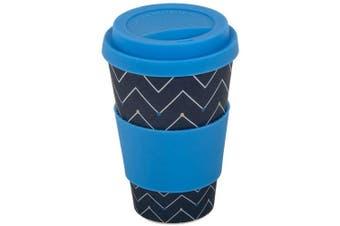 (Dot to Dot) - Addis Reusable Bamboo Travel Coffee Hot Cup Mug with Soft Touch Drink Sleeve & Lid, 500ml 17.5 floz, Design, Dot to Dot Dark Grey, 500 ml