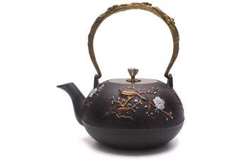 (1.3L) - TOWA Workshop Japanese Tetsubin Tea Kettle Cast Iron Teapot for Stovetop Safe Coated with Enamelled Interior (1.3L)