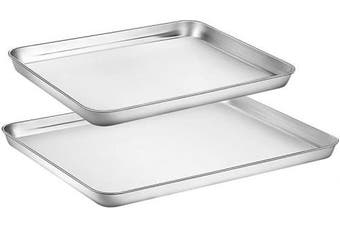 Toaster Oven Tray Pan, Zacfton Baking Sheet Stainless Steel Cookie Sheet Rectangle Size 16 x 30cm x 2.5cm , Non Toxic & Healthy,Superior Mirror Finish & Easy Clean, Dishwasher Safe (41cm 30cm )