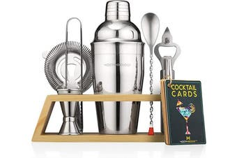Mixology Bartender Kit with Stand | Bar Set Cocktail Kit Shaker Set for Drink Mixing - Bar Tools: Martini Shaker, Jigger, Strainer, Bar Mixer Spoon, Tongs, Bottle Opener | Best Bar Set for the Home