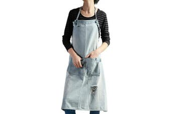 (Light Blue) - Chef Apron, Cotton Denim Retro Style Adjustable Apron with 3 Pockets for Women and Men, Kitchen Cooking Baking Bib Apron, Garage Work and Server, Cotton Denim (Light Blue)