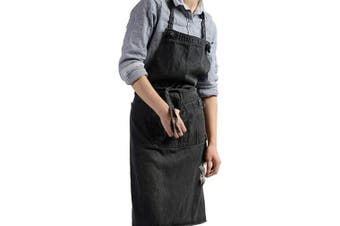 (Black) - Chef Apron, Cotton Denim Retro Style Adjustable Apron with 3 Pockets for Women and Men, Kitchen Cooking Baking Bib Apron, Garage Work and Server, Cotton Denim (Black)