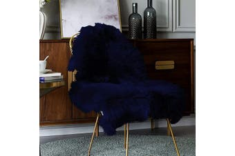 (0.6m x 0.9m, Navy Blue) - Carvapet Luxury Soft Faux Sheepskin Chair Cover Seat Pad Plush Fur Area Rugs for Bedroom, 0.6m x 0.9m, Navy Blue