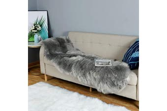 (0.6m x 1.8m Sheepskin, Grey) - Carvapet Luxury Soft Faux Sheepskin Couch Seat Cushion Fake Fur Area Rugs for Bedroom and Living Room Runner, 0.6m x 1.8m, Grey