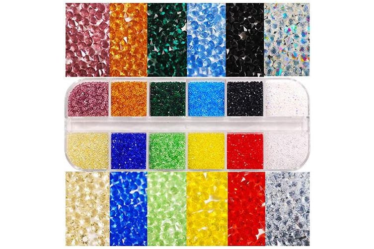 (12 colors) - Hisenlee 17280Pcs Micro Crystal Strass Glass Nail Art Rhinestones 1.1MM Mini Diamond Manicure DIY Accessories (12 colours)