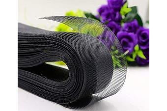(5.1cm  50 Yard, Black) - Abbaoww Polyester 5.1cm 50 Yard Stiff Horsehair Braid for Polyester Boning Sewing Wedding Dress Dance Gowns Dress Accessories, Black