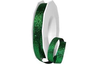 Morex Ribbon 98502/25-607 Metallic Princess Glitter, 1cm x 25 yd, Emerald
