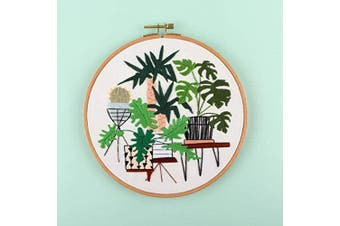 (Plant Garden-7) - Embroidery Starter Kit with Pattern, Cross Stitch Kit Include Stamped Embroidery Clothes with Floral Pattern, Plastic Embroidery Hoops, Colour Threads and Tools Needlepoint Kits (Plant Garden)