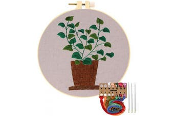 (Bamboo Grass Leaves) - Embroidery Starter Kit with Pattern, Cross Stitch Kit Include Stamped Embroidery Clothes with Floral Pattern, Plastic Embroidery Hoops, Colour Threads and Tools Needlepoint Kits (Bamboo Grass Leaves)