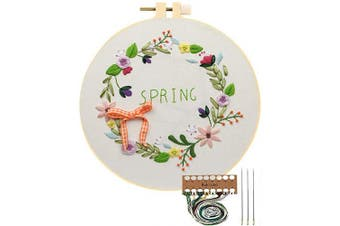 (Spring Flower Hoop) - Embroidery Starter Kit with Pattern, Cross Stitch Kit Include Stamped Embroidery Clothes with Floral Pattern, Plastic Embroidery Hoops, Colour Threads and Tools Needlepoint Kits (Spring Flower Hoop)