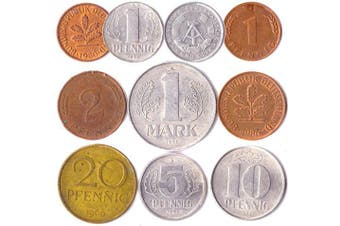 (Germany) - 10 GERMANY COINS FROM EAST AND WEST EUROPE: PFENNIG, MARK 1948-2001. PERFECT CHOICE FOR YOUR COIN BANK, COIN HOLDERS AND COIN ALBUM