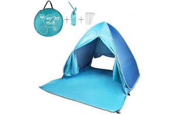(New Blue) - FBSPORT Beach Tent Pop Up Sun Shelter, Automatic Canopy Shade Portable UV Protection with Carry Bag for Outdoor, Instant Kids Shade Tent, Family Cabana for beach, garden, camping, fishing, picnic