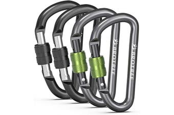 (# 20 Black&Greygreen, 4 PCS) - Brotree Carabiner Screw/Straight Gate Mini Carabiner Clips for Keychain, Camping, Hiking, Backpacking and Fishing (2 or 4 Pcs)