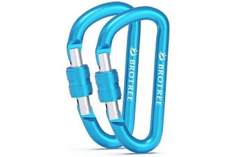 (# 11 Blue, 2 PCS) - Brotree Carabiner Screw/Straight Gate Mini Carabiner Clips for Keychain, Camping, Hiking, Backpacking and Fishing (2 or 4 Pcs)