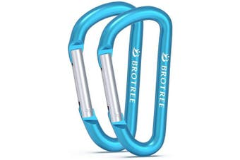 (# 02 Blue, 2 PCS) - Brotree Carabiner Screw/Straight Gate Mini Carabiner Clips for Keychain, Camping, Hiking, Backpacking and Fishing (2 or 4 Pcs)