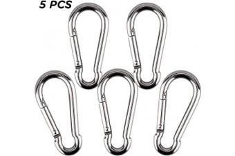 AIEX 5pcs Locking Carabiner Clip Stainless Steel Heavy Duty Spring Snap Hook for Travel, Camping, Hammock, Hiking, Dog Leash (130kg)