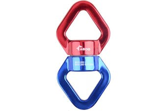 (Red + Blue) - Azarxis 30KN Tree Swing Swivel Spinner, Safest Rotational Climbing Rope Devices Hanging Hook Accessory for Web Tree Swing Setting, Aerial Silks Dance, Yoga, Hammock