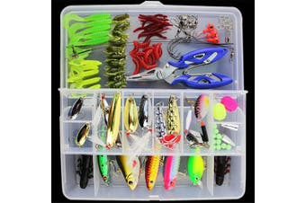 BrilliantDay 101pcs Artificial Fishing Lure set Soft Bait with Hook Accessories Set