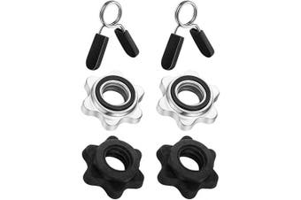 6 Pieces Barbell Accessories Set, 2 Pieces Spring Collar Clips, 2 Pieces Dumbbell Screw Clamps Dumbbell Bar Spinlock and 2 Pieces Spinlock Collars for 2.5cm Standard Barbells Bars Sports