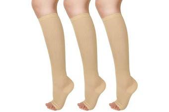 Blahhey 3 Pairs Open Toe Compression Socks for Women & Men 15-25 mmHg Knee High Toeless Compression Socks Flexible Fit for Nurse, Running, Pregnancy, Flying, Travel(Beige, S/M)