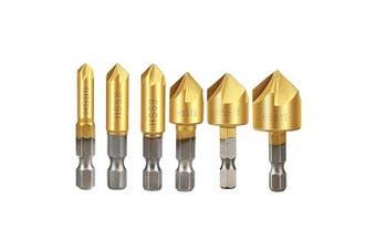 """Countersink Drill Bit Set, Aplus HSS Countersink Drill Bit Set Hex Shank HSS Counterbore Reamer Countersink Chamfer Countersink Bit Set 6Pcs 5 Flute 90 ° Metre for Wood 1/4"""" 6mm-19 mm"""