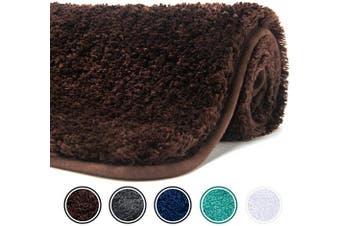 (60cm  x 41cm , Brown) - Poymecy Bathroom Rug Non Slip Soft Water Absorbent Thick Large Shaggy Floor Mats,Machine Washable,Bath Mat (Brown,60cm x 41cm )
