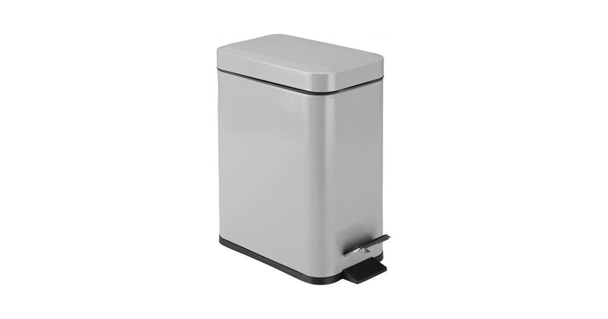 Gray Mdesign 4 9l Rectangular Small Steel Step Trash Can Wastebasket Garbage Container Bin For Bathroom Powder Room Bedroom Kitchen Craft Room Office Removable Liner Bucket Grey Matt Blatt