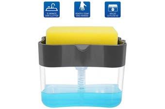 (Grey) - Aeakey Soap Pump Dispenser and Sponge Holder for Kitchen Sink Dish Washing Soap Dispenser 380mls (Grey)