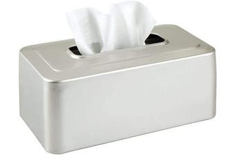(Satin) - mDesign Modern Metal Tissue Box Cover for Disposable Paper Facial Tissues, Rectangular Holder for Storage on Bathroom Vanity, Countertop, Bedroom Dresser, Night Stand, Desk, Table - Satin